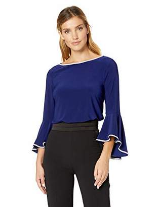MSK Women's Bell Sleeve TOP with Trim
