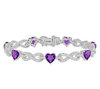 FINE JEWELRY Lab-Created Amethyst & Cubic Zirconia Silver over Brass Infinity Heart Link Bracelet