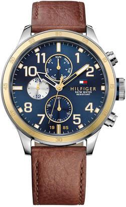 Tommy Hilfiger Men Brown Leather Strap Watch 46mm 1791137