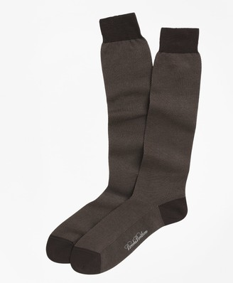 Brooks Brothers Cotton Bird's-Eye Over-the-Calf Socks