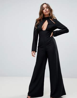 Missguided key hole cut out detail jumpsuit in black