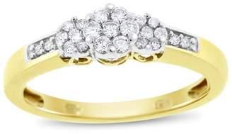 10K Yellow Gold 0.30tcw. Diamond Triple Flower Promise Ring