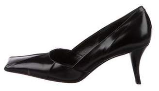 Prada Leather Square-Toe Pumps