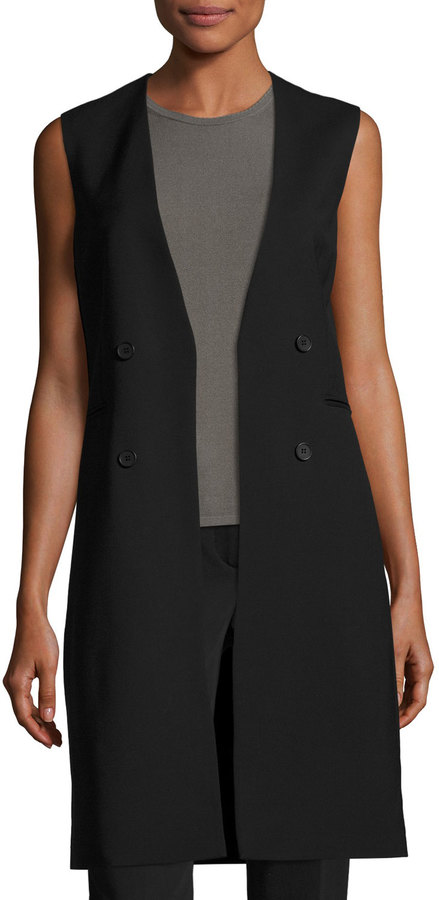 Theory Theory Aggie Contour Open-Front Wool Vest, Black