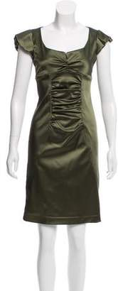 Nicole Miller Gathered Satin Dress