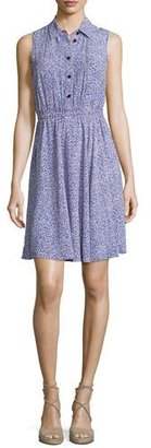 Kate Spade New York Sleeveless Floral Jersey Shirtdress, Ensemble Blue $378 thestylecure.com