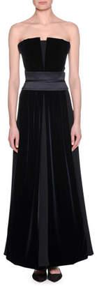 Giorgio Armani Strapless Silk Velvet-Inset Gown
