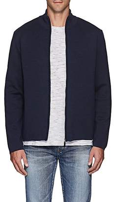 Barneys New York Men's Compact Knit Wool Zip-Front Sweater - Navy