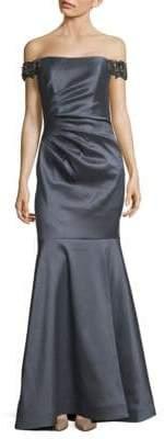 Badgley Mischka Off-The-Shoulder Mermaid Gown