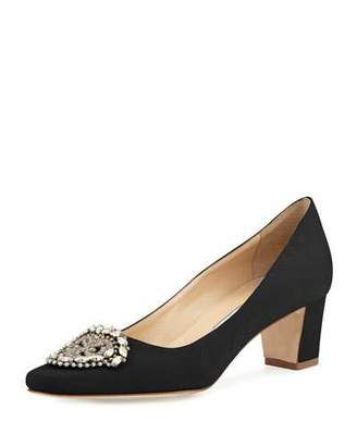 Manolo Blahnik Okkato Low-Heel Crepe Pump, Black