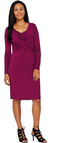 Halston H by Solid Cowl Neck Long Sleeve Dress