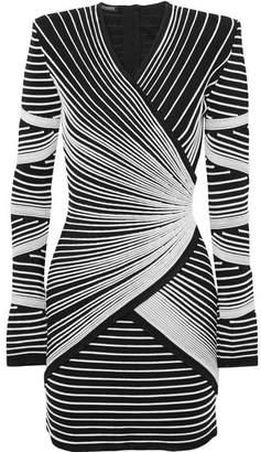 Balmain Paneled Stretch-knit Mini Dress - Black
