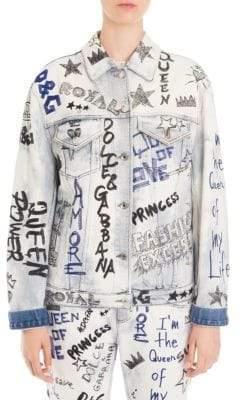 Dolce & Gabbana Dolce& Gabbana Women's Denim Graffiti Jacket - Graffiti Denim - Size 48 (12)