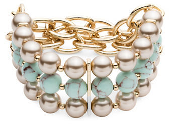 Carolee Carolee Turquoise Sands 8MM Faux Pearl Beaded Triple Row Stretch Bracelet