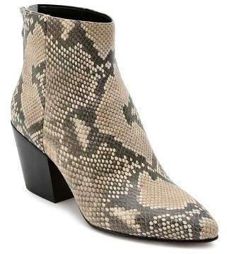 Dolce Vita Women's Coltyn Almond Toe Snakeskin-Embossed Leather Booties