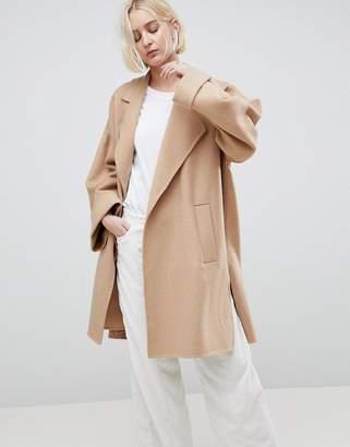 Asos Design Coat With Seam Detail