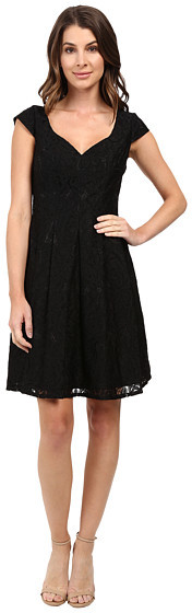 Adrianna PapellAdrianna Papell Seamed Juliet Lace Fit and Flare Dress