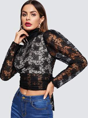 Shein Contrast Lined Knot Open Back Lace Blouse