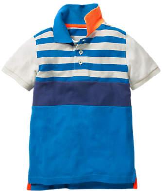 Mini Boden Boys' Colour Block Polo Shirt, Blue