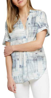 Nic+Zoe NIC + ZOE Shoreline Grid Short Sleeve Top