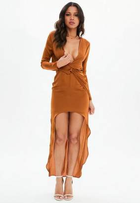 Missguided Rust Satin Asymmetric Twist Front Maxi Dress