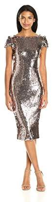 Dress the Population Women's Marcella Cap Sleeve Scoop Back Sequin Midi Dress