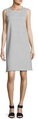 Lafayette 148 New York Sleeveless Square-Neck Striped Dress, White/Black $398 thestylecure.com