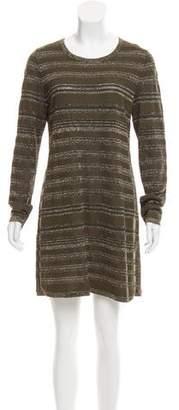 Salvatore Ferragamo Stripe Metallic Wool-Blend Dress