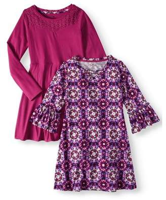 ONE STEP UP Print and Lace Yoke Stud Soft Knit Dresses, 2-Pack (Little Girls & Big Girls)