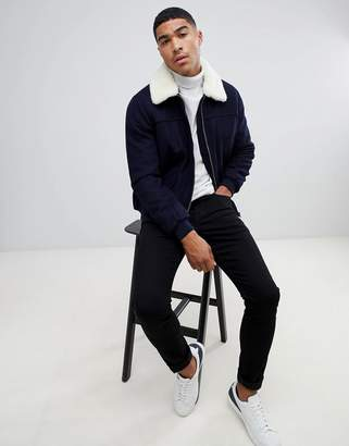 Asos DESIGN wool mix harrington jacket with fleece collar in navy