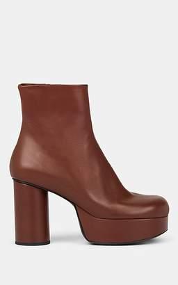 Jil Sander Women's Leather Platform Ankle Boots - Dk. brown