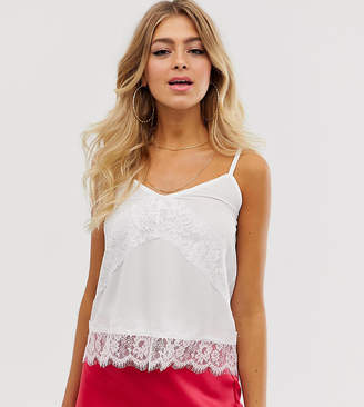Outrageous Fortune lace insert cami top in white