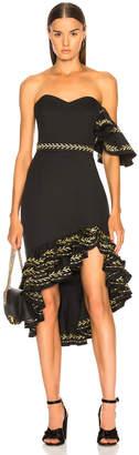 Caroline Constas Cam Dress in Black & Gold | FWRD