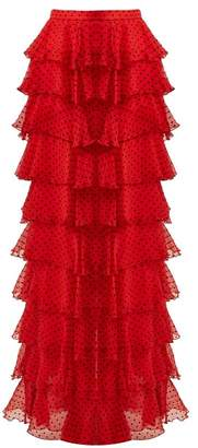 Rodarte High Rise Tiered Silk Chiffon Skirt - Womens - Black Red