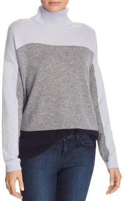 Bloomingdale's C by Color-Block Cashmere Turtleneck Sweater - 100% Exclusive