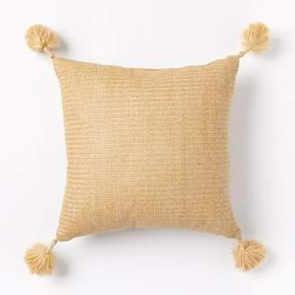 west elm Outdoor Solid Basketweave Pillow - Natural