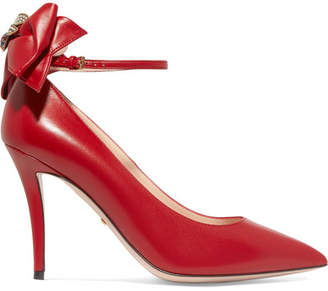 Gucci Queen Margaret Embellished Leather Mary Jane Pumps - Red