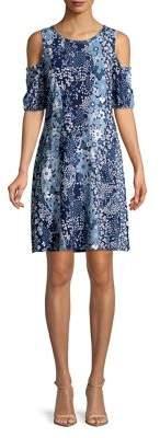 MICHAEL Michael Kors Floral Cold-Shoulder Shift Dress