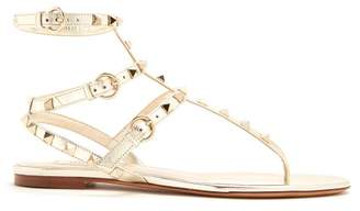 Valentino Rockstud Flat Leather Sandals - Womens - Gold