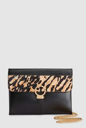 Next Womens Tiger Print Leather Clutch