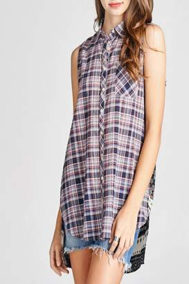 Oddi Plaid Button-Up Top
