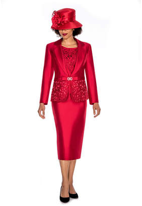 GIOVANNA COLLECTION Giovanna Collection Women's Laser-cut Embellished 3-piece Skirt Suit