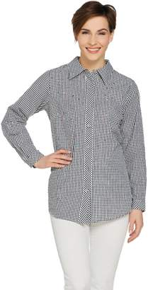 Factory Quacker Seersucker Button Front Shirt with Rhinestones