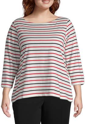 Liz Claiborne SIMPLY  Simply 3/4 Sleeve Stripe Boatneck Tee - Plus