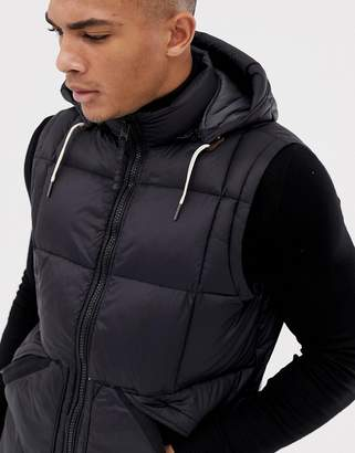 Abercrombie & Fitch Hooded Down Puffer Tank in Black