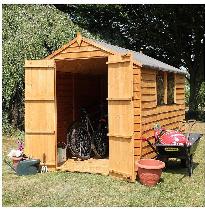 Mercia Mercia 8x6ft Great Value Overlap Shed Apex With Windows & Double Doors Plus Assembly