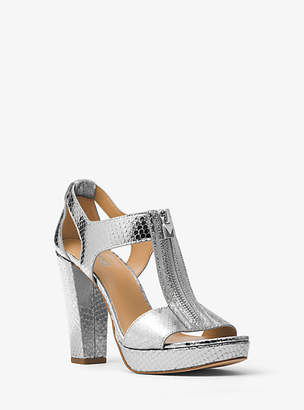 Michael Kors Berkley Lock Metallic Embossed-Leather Platform Sandal