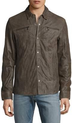 John Varvatos Men's Leather Shirt Jacket