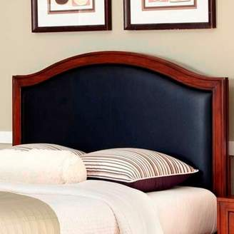 Home Styles Duet Queen Camelback Headboard with Black Leather Inset, Rustic Cherry