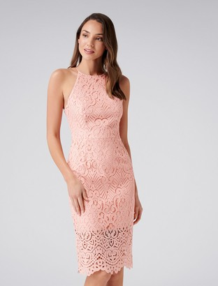 33db7fb9ae Forever New Debbie Lace Pencil Dress - Butterfly Pink - 14